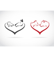 Image of animal on heart shape vector