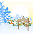 Christmas card with village vector