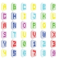 Abc colored building font with numbers vector