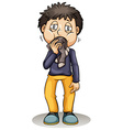 A boy putting a sock in his mouth vector