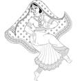 Sketch of dancing indian woman vector