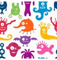 Seamless pattern with funny monsters vector