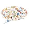 Social media icons texture in talk bubble shape vector