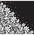 White guipure border with pearls on black vector