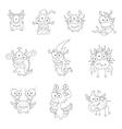 Cartoon monsters goblins ghosts vector