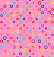 Pink background fabric with colored circles vector