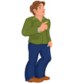 Cartoon man in green jacket points at something vector