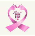 Breast cancer awareness ribbon text human hands vector