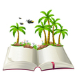 An open book with coconut trees and birds vector