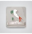 Icon of italy map with flag vector