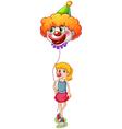 A tall girl holding a clown balloon vector