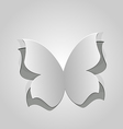 Cut out butterfly grey paper vector