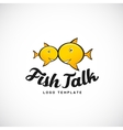 Fish talk abstract logo with typography vector