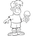 Cartoon boy holding an ice cream cone vector