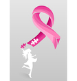 Breast cancer awareness ribbon woman help eps10 vector