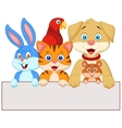 Cartoon pet animals holding blank paper vector