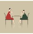Women drink tea in cafe sketch for your design vector