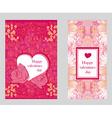 Vintage style valentine day card set vector