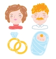 Cartoon young family mother father baby vector