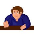 Cartoon sad man torso in blue top vector