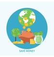 Piggy bank and coin saving money concept vector