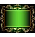 Vintage green floral frame vector