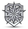 3d heraldic template with polygonal silver star vector
