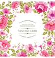 Flower label on the vintage card vector