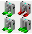 Isometric tripod gate opened and closed vector