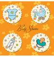 Cartoon baby boy items collection vector