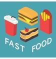 Fast food 3d isometric flat set vector