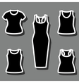 Set of t-shirts and dress icon vector