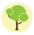 Simple abstract green tree in grunge style vector
