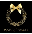 Christmas wreath with golden bow vector
