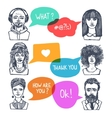 Group of people with speech bubbles vector