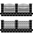 Metal ornate fence black icons vector