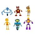 Set of cute colorful retro robot toys vector