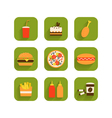 Set of icons of fast food vector