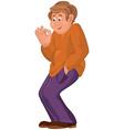 Cartoon happy man in orange polo vector