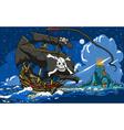 Pirateaposs ship sailing to the skull island vector