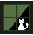 Cute white cat behind a curtain in the window vector