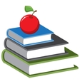 Stack of books and an apple cartoon vector
