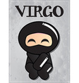 Zodiac sign virgo with cute black ninja character vector