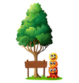 Three monsters playing near the wooden signboard vector