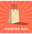 Paper shopping bag on retro red background vector