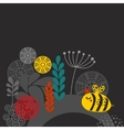 Colorful print with bee and flowers vector