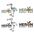 Heron sushi bar design template vector