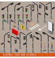 Urban traffic management set isometric vector