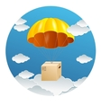 Parachute with a gift box vector
