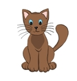 Cute hand drawn brown cat vector